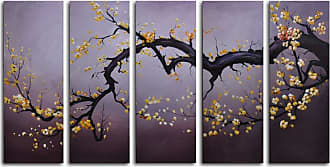 Omax Decor Japanese Branch Charcoal Sky 5-Piece Canvas Wall Art - 60W x 32H in. - M 2009