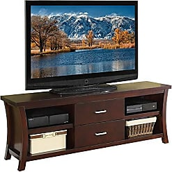 Benzara BM166693 Wooden TV Stand with 2 Drawers and 4 Shelves, Espresso Brown