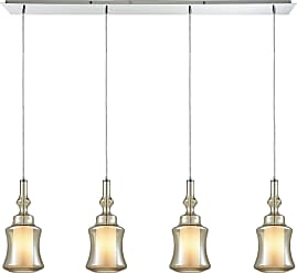 Elk Lighting Alora 4 Light Linear Pan Pendant In Polished Chrome With Opal White Glass Inside Champagne Plated Glass