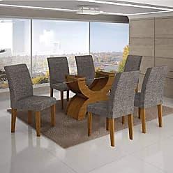 Leifer Conjunto Sala de Jantar Mesa Tampo Vidro 160cm 6 Cadeiras Olímpia New Leifer Imbuia Mel/Linho Cinza