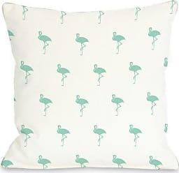 One Bella Casa All over Flamingo Throw Pillow by OBC, 20x 20, White/Aqua