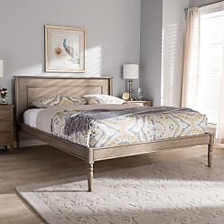 Baxton Studio Axton Modern and Contemporary Weathered Gray Wood Bed, Size: Queen - ISAIAH-WEATHERED GREY-QUEEN