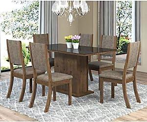 Viero Sala de Jantar Mesa Retangular Tampo de MDF Smart 6 Cadeiras Kiara Viero Grigio/Canela/Vidro Preto