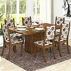 Viero Conjunto para Sala de Jantar Mesa e 6 Cadeiras Viero Dulce Avelã/Passion