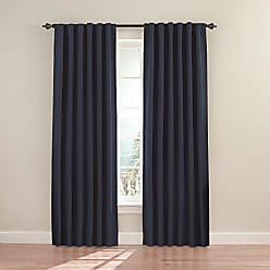 Ellery Homestyles ECLIPSE Blackout Curtains for Bedroom - Fresno 52 x 63 Insulated Darkening Single Panel Rod Pocket Window Treatment Living Room, Dark Blue