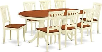 East West Furniture Plainville 9 Piece Lath Back Dining Table Set