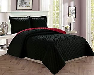 Elegant Comfort Luxury 3-Piece Bedspread Coverlet Diamond Design Quilted Set with Shams All All Season Heavy Weight- Hypoallergenic- Wrinkle & Fade Resistant, King/California King, Black/Burgundy