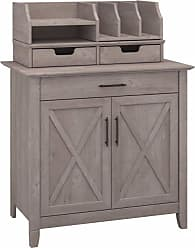 Bush Furniture Furniture Key West Collection Washed Gray Laptop Storage Credenza With Desktop Organizers