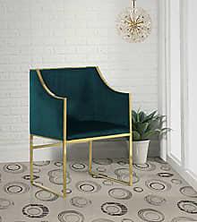 Iconic Home FAC2729-AN Rowan Modern Contemporary Steel Frame Velvet Accent Chair, Green