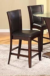 Round Hill Furniture Kecco Espresso Solid Wood Counter Height Stools, Set of 2