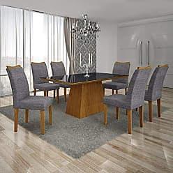 Leifer Conjunto Sala de Jantar Mesa Tampo MDF/Vidro Preto 6 Cadeiras Pampulha Leifer Imbuia Mel/Linho Cinza