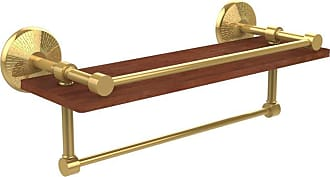 Allied Brass Monte Carlo 16 in. IPE Ironwood Shelf with Gallery Rail and Towel Bar - MC-1-16TB-GAL-IRW-ABR