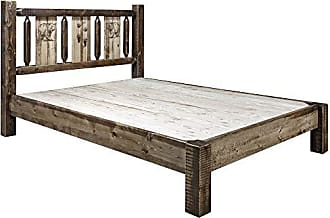 Montana Woodworks Montana MWHCPBCAKSLLZBEAR Woodworks Homestead Collection King Platform Bed, Stain and Clear Lacquer Finish with Laser Engraved Bear Design