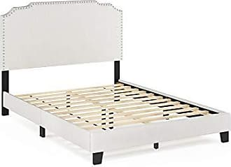 Furinno FB18014F-BG Nadia Nailhead Trim Bed Frame, Full, Gray