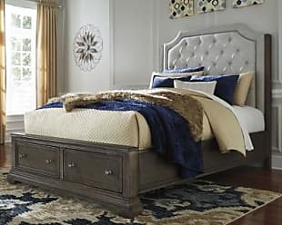 Ashley Furniture Mikalene Queen Panel Bed with Storage, Brown Metallic