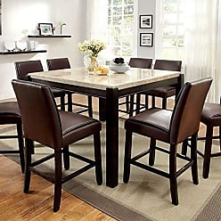 FURNITURE OF AMERICA 24/7 Shop at Home 247SHOPATHOME IDF-3823PT-9PC Dining-Room-Sets, 9-Piece, Dark Walnut