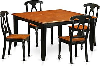 East West Furniture PFKE5-BCH-W 5 PC Room Set Table and 4 Wooden Dining Chairs, Black and Cherry