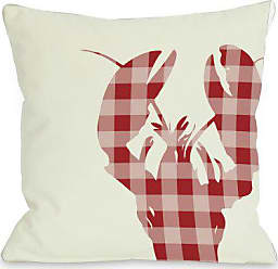One Bella Casa Plaid Lobster Throw Pillow by OBC, 18x 18, Ivory/Red
