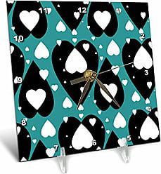3D Rose 3dRose 3D Rose Small White Floating Over Big Black Hearts On Turquoise Pattern-Desk Clock, 6 by 6-inch (dc_178008_1)