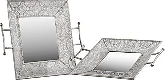 Urban Trends Collection Urban Trends Metal Square Tray with Mirror Surface, 2 Handles and Pierced Sides Electroplated Finish (Set of 2), Silver