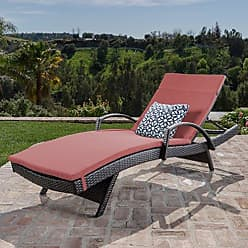 Noble House Christopher Knight Home 296786 Salem Outdoor Wicker Chaise Lounge Chair with Arms with Cushion, Brown with Red