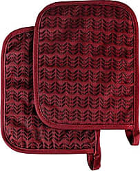 Trademark Global Pot Holder Set With Silicone Grip, Quilted And Heat Resistant (Set of 2) By Lavish Home (Burgundy)