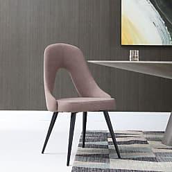 Whiteline Traci Fabric Dining Chair - Set of 2 - DC1471-BRN