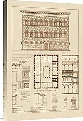 Bentley Global Arts Global Gallery Budget GCS-394592-1624-142 J. Buhlmann Palazzo Strozzi at Florence Gallery Wrap Giclee on Canvas Wall Art Print