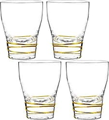 Qualia Glass Helix Double Old Fashion, Gold/Clear, 4 Piece