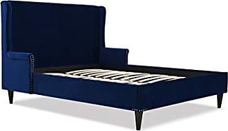 Jennifer Taylor Home S52190-3-859-1 Clarice Wingback Accent Platform Bed Queen Navy Blue