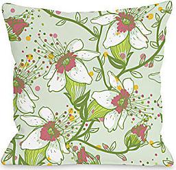 One Bella Casa Lovelilies Throw Pillow by OBC, 16x 16, Green/Multi