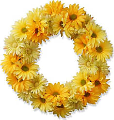 National Tree Company National Tree 19 Inch Floral Wreath with Yellow Flowers (GAC30-19WY)