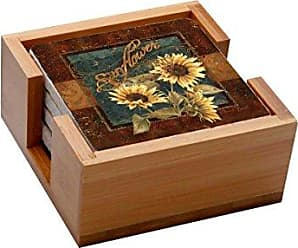 Thirstystone 4-Piece Coaster Set with Holder Included Sunflower Farm
