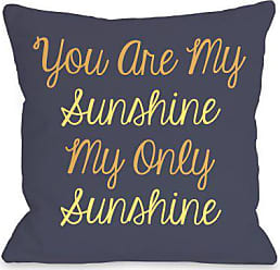 One Bella Casa You Are My Sunshine Throw Pillow Cover by OBC, 18x 18, Navy/Yellow