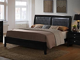Round Hill Furniture Blemerey Bonded Leather Padded Back Low Profile Bed, Queen, Black Finish