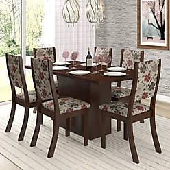 Viero Conjunto Sala de Jantar Mesa e 6 Cadeiras Cereja Viero Choco/Passion