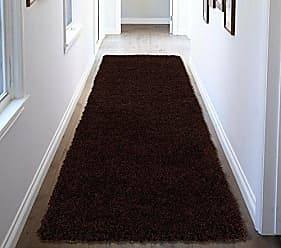 Ottomanson Soft Cozy Color Solid Shag Runner Rug Contemporary Hallway and Kitchen Shag Runner Rug, Brown, 27L X 80W