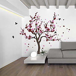The Decal Guru Japanese Cherry Blossom Tree and Birds Wall Decal Sticker for Flower Baby Nursery Room Decor Art (Burgundy & Pink, 38x59 inches)
