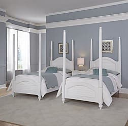 Home Styles Bermuda Two Twin White Poster Beds and Night Stand by Home Styles