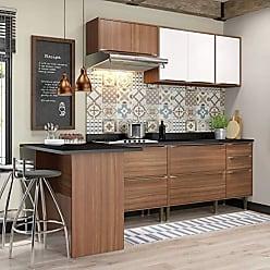 Multimóveis Cozinha Calábria 6 Peças 7 Portas Nogueira E Branco Multimóveis