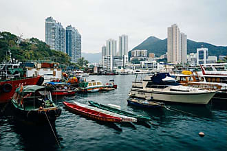 Noir Gallery Hong Kong Mountains and Harbor View Canvas Wall Art - HK-01-TW-08