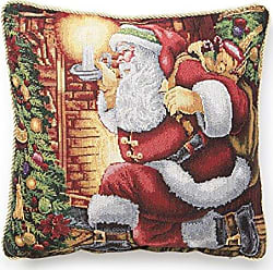 Violet Linen Decorative Christmas Tapestry Throw Pillow, 18 x 18, Santa Claus Design