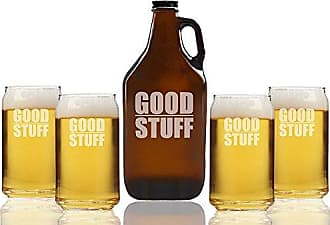 Chloe and Madison Good Stuff Beer Amber Growler & Can Glasses, Set of 5