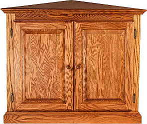 Forest Designs Traditional Corner Bookcase with Full Doors and Wood Knobs Unfinished Alder, Size: 72 in. - 6810C- TG-72H-UA