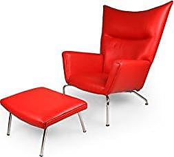 Kardiel RED-Aniline Hans J Wegner Style Wing Chair & Ottoman Leather