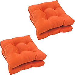 Blazing Needles Solid Microsuede Square Tufted Chair Cushions (Set of 4), 16, Tangerine Dream