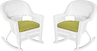 Jeco W00206R-B_2-FS029 Rocker Wicker Chair with Green Cushion, Set of 2, White