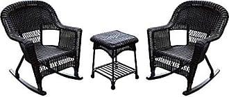 Jeco W00201R-A_2-RCES 3 Piece Rocker Wicker Chair Set, Espresso