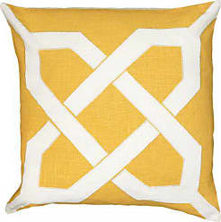 Rizzy Home T06263 Applique with Embroidery Details Decorative Pillow, 18 by 18-Inch, Yellow