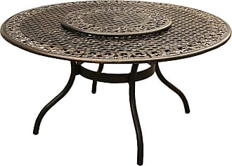 Oakland Living Outdoor Oakland Living Ornate Mesh Lattice Aluminum Round Patio Dining Table with Lazy Susan - 2555-ROUND-59-ORNATE-TABLE-LAZY-BZ